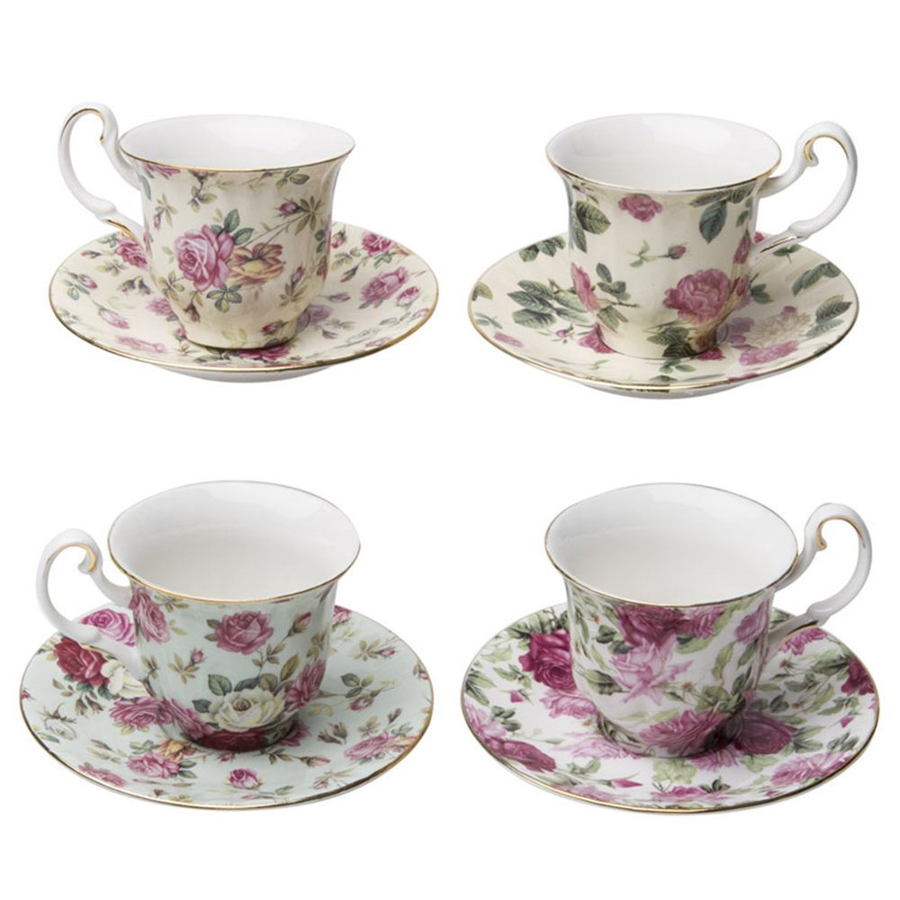 Gracie China by Coastline Imports Rose Chintz 3-Ounce Porcelain Espresso Cup and Saucer with Gold Trim, Set of 4 33714