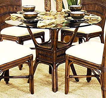 polynesian furniture. Polynesian Round Dining Table In Antique W 42 In. Beveled Glass Furniture