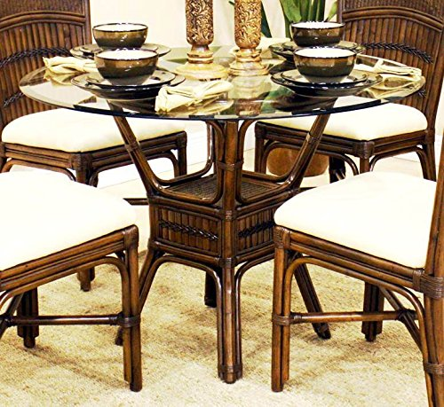 Polynesian Round Dining Table in Antique w 42 in. Beveled Glass (Bamboo Dining Table And Chairs)