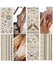 9ab8ac457ed1 Temporary Tattoos,Metallic,5 Large Sheets Gold Silver Glitter, by  WffDirect,80