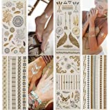 Temporary Tattoos,Metallic,5 Large Sheets Gold Silver Glitter, by WffDirect,80+ Color Flash Waterproof Tattoo Stickers-For Adults or Kids