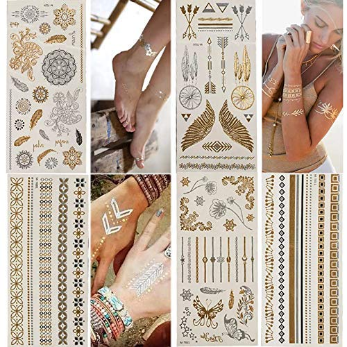 Temporary Tattoos,Metallic,5 Large Sheets Gold Silver Glitter, by