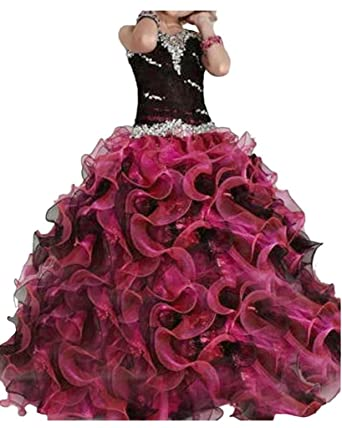 Chumuse Womens Sweetheart Beaded Quinceanera Dresses 2018 Cascading Ruffles Prom Ball Gowns for Juniors