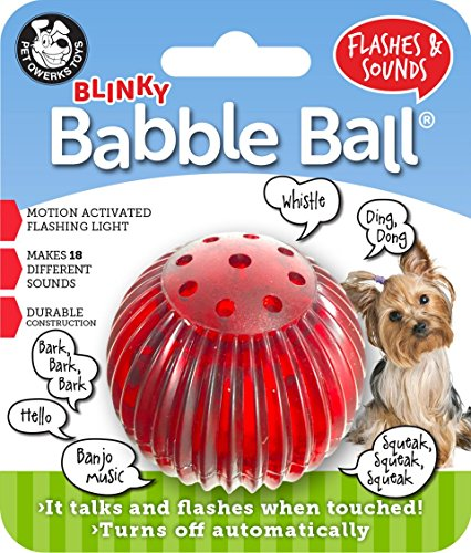 Pet Qwerks Blinky Babble Ball Interactive Dog Toy, Flashes & Talks When Touched -