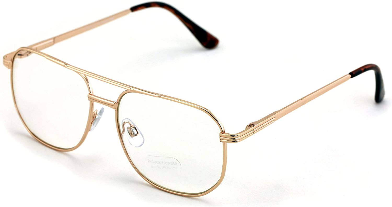 Metal Aviator Clear Len Glasses - Big Lens Spring Hinge Square Fashion Gold Gunmetal