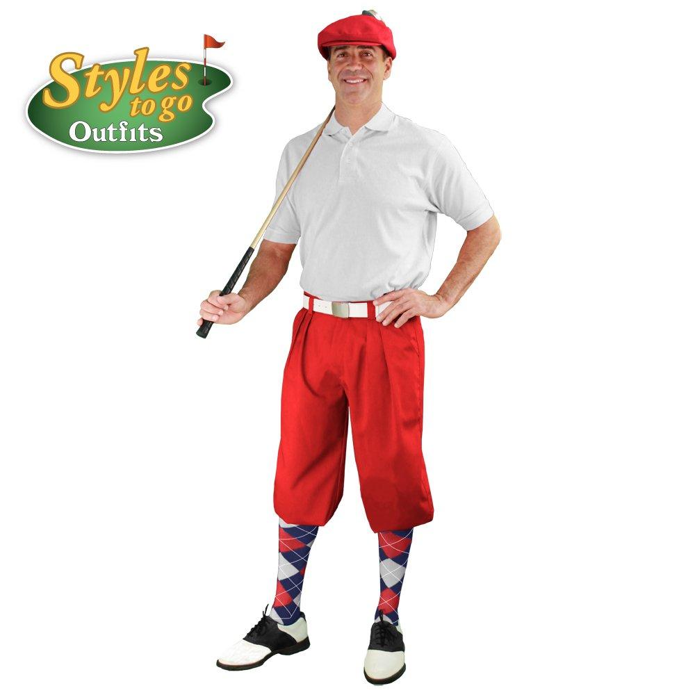 メンズゴルフOutfit – レッド、ホワイト、&ネイビーゴルフKnicker Complete Outfit B06X6K7TWD Shirt Size - Large|ウエストサイズ-54 ウエストサイズ-54 Shirt Size - Large