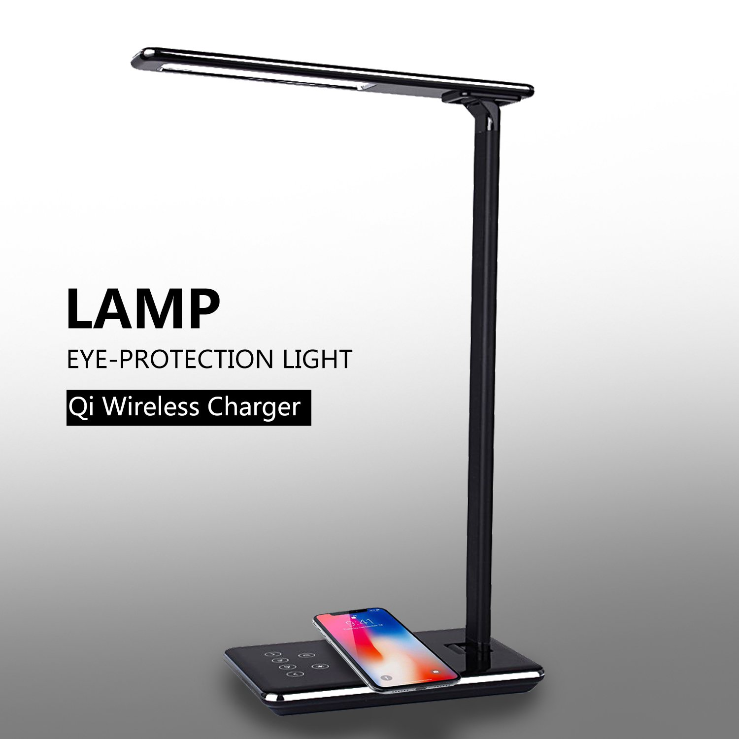 LED Desk Lamp, Table Lamps, Brightness Adjustable Office Lamp with USB Charging Port, Qi Wireless Charger, Touch Control, 4 Color Modes, Timer, Night Light (Black)