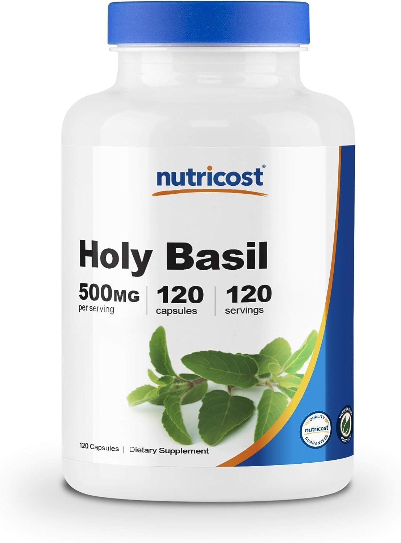 Nutricost Holy Basil Capsules 500mg, 120 Veggie Capsules - Gluten Free, Non-GMO