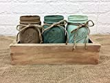 Flowers are for display only and not included with purchase Each of our decorative items is handmade to order here in our Central Texas shop so please allow 3-5 days manufacturing time before shipment Set of 3 pint size mason jars in wood box...