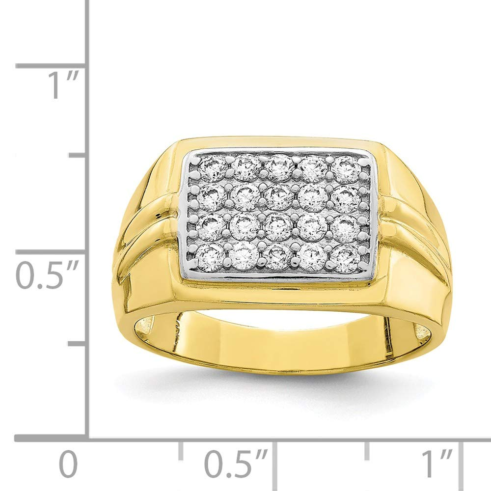 10k With Rhodium Cubic Zirconia Mens Ring Higher Gold Grade Than