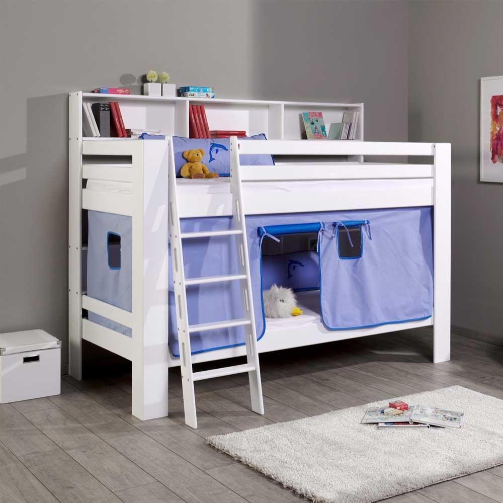 Pharao24 Kinderstockbett in Weiß Blau Buche Massivholz