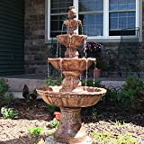 Sunnydaze 4-Tier Large Outdoor Water Fountain with Pineapple Top, Tan, 52-Inch