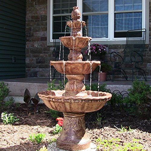 Sunnydaze 4-Tier Large Outdoor Water Fountain with Pineapple Top, Tan, 52-Inch - Outdoor Pineapple Finial
