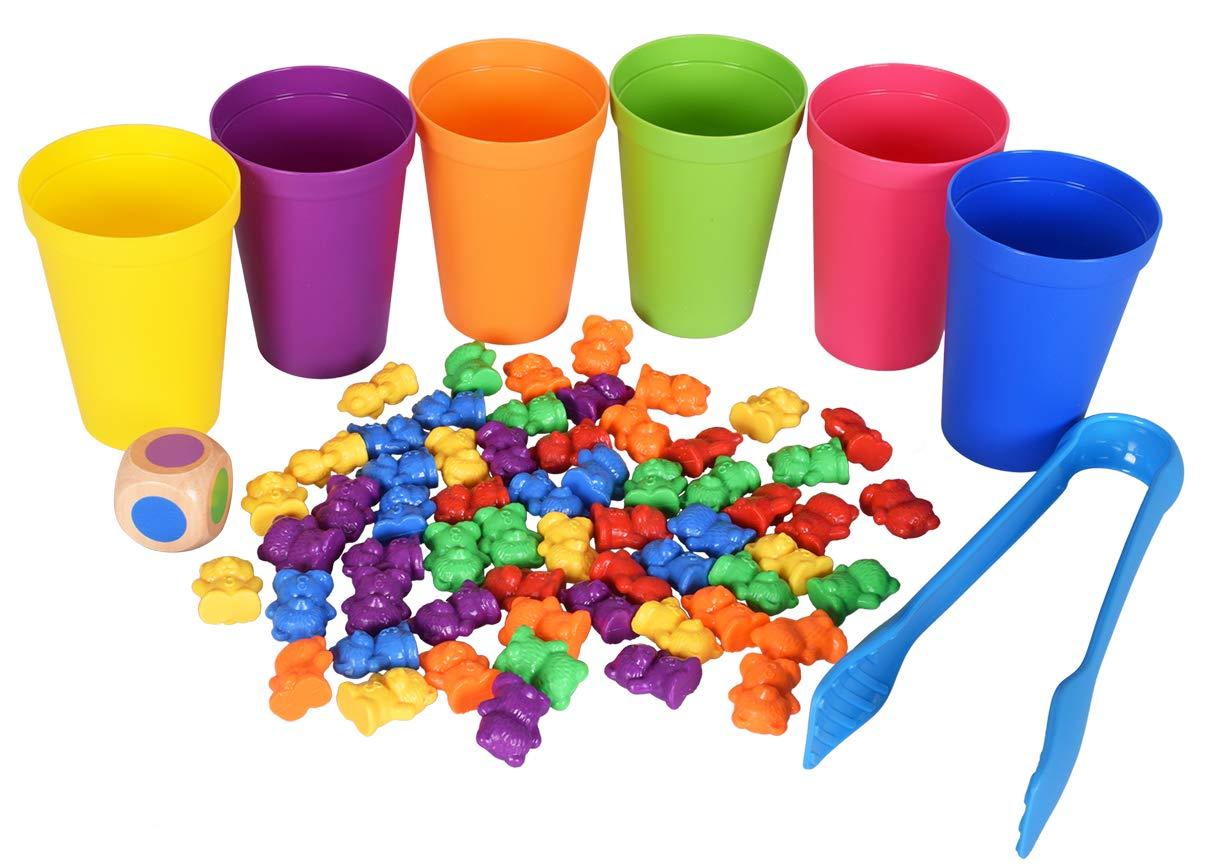 Max Fun 71PCS Counting/Sorting Bears Toy Set with Matching Sorting Cups Toddler Game for Pre-School Learning Color Recognition Party Favors by Max Fun