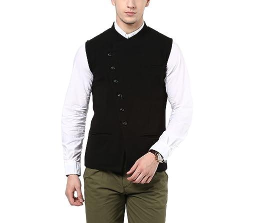 Hypernation Black Color Cotton Casual Waistcoat Men's Suits & Blazers at amazon