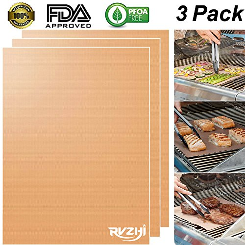 RVZHI Copper Grill Mat Set of 3 - 100% Non-stick BBQ Grill & Baking Mats - FDA Approved, PFOA Free, Easy to Clean and Reusable - As Seen on TV - 1575 x 13 Inch