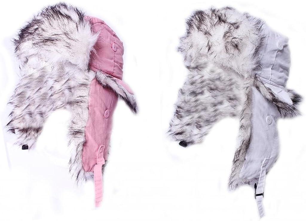 Girls Winter Warm Fake Fur Outdoor Shower Proof Trapper Beanie Hat