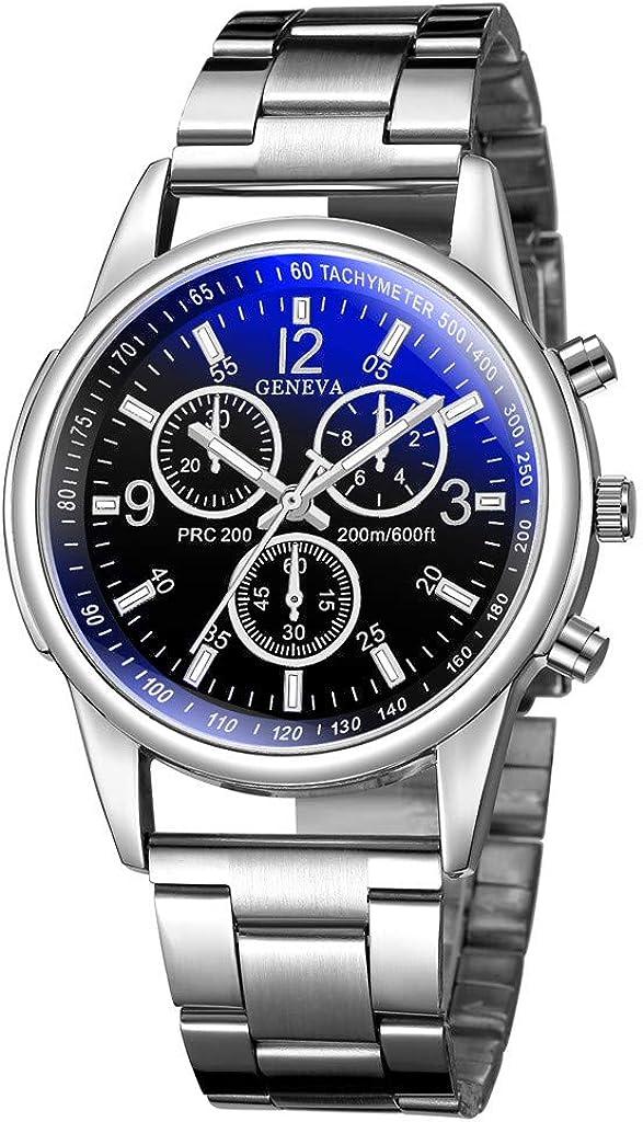 Geneva Hombre Fashion Militar Acero Inoxidable Analógico Fecha Deporte Quartz Wrist Relojes