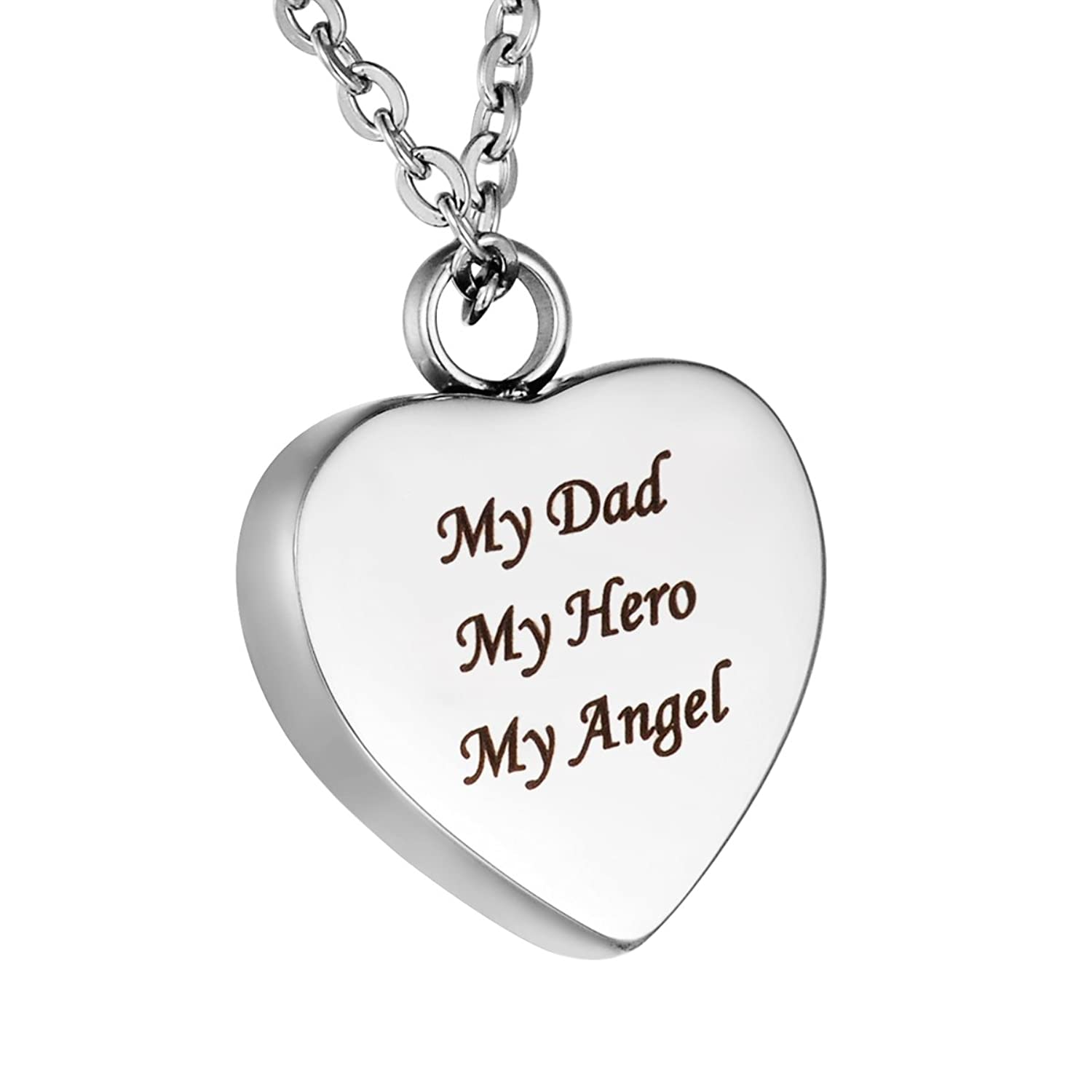 HooAMI My Dad My Hero My Angel Cremation Jewelry Urn Necklace Pendant