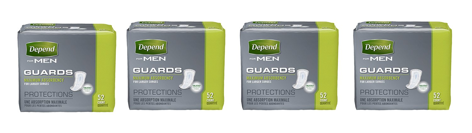 Depend Incontinence Guards for Men, Maximum mmsjf Absorbency, 52 Count (4 Pack)