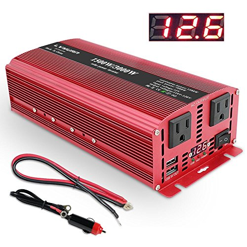 LVYUAN 1500W/3000W Power Inverter Dual AC Outlets and Dual USB Charging Ports DC 12V to 110V AC Car 12V Inverter Converter with Digital Display 4 External 40A Fuses for Blenders, vacuums, Power Tools ()
