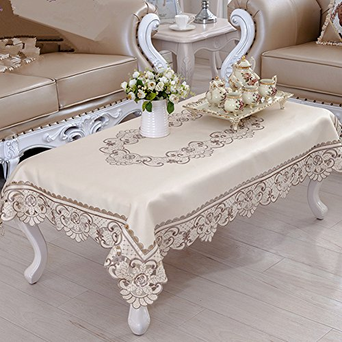 Brown Flower Embroidered Lace Cream Coffee Table Tablecloth Rectangular