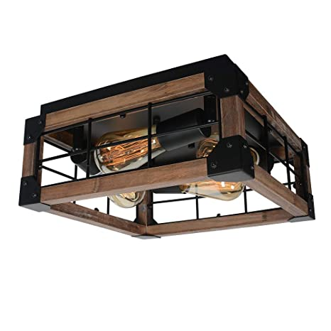 Beuhouz Square Farmhouse Semi Flush Mount Lighting Black Metal And Wood Rustic Ceiling Light Fixture Industrial Close To Ceiling Wire Cage Light 4