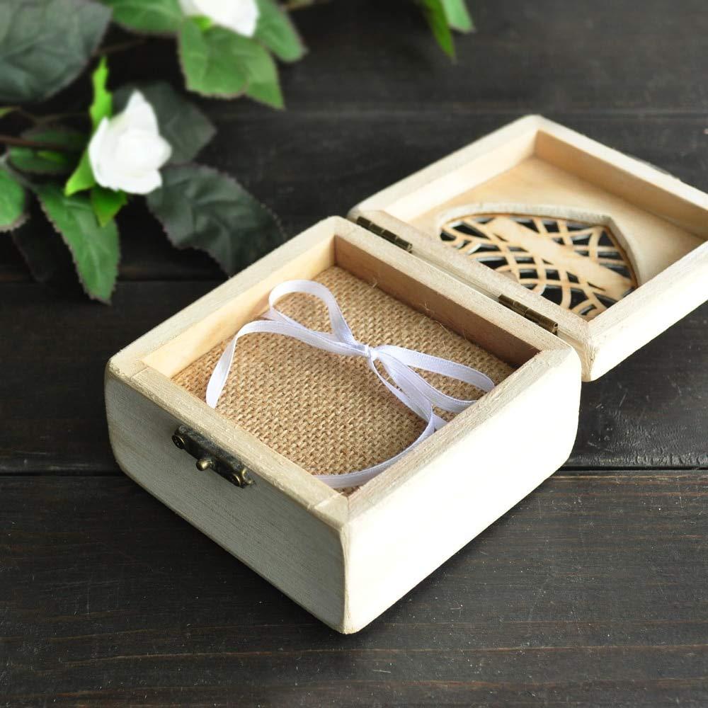 Nona7654 Wedding Ring Box Personalized Ring Bearer Pillow Box White Rustic Ring Box