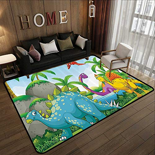 Multi-Color Modern Area Rug,Jurassic Decor,Dinosaurs Living in The Jungle Illustration Palm Trees Lakeside Stones Fun 55