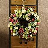 Decorative Seasonal Front Door Wreath Best Seller - Handcrafted Wreath for Outdoor Display in Fall, Winter, Spring, and Summer (Green)