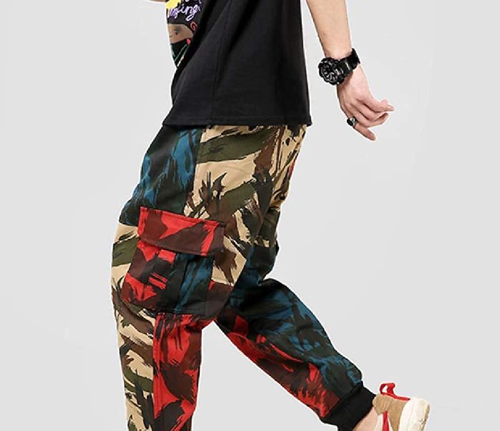 RDHOPE-Men Athletic-Fit Hip Hop Camo Beach Trousers Combat Karate Pants