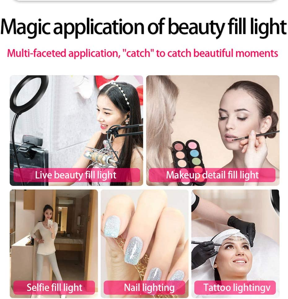 Ring Light with Stand and Phone Holder for Live Streaming /& YouTube Video Huanxin 8-Inch LED Ring Light Lighting Kit Dimmable 3 Light Modes