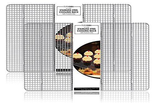 Baking Rack, Cooling Rack, TWIN SET OF 14 inch X 20 inch Stainless Steel 304 Grade Roasting Rack - Heavy Duty Oven Safe, Commercial Quality Cooling Racks For Baking (14 inch X 20 inch)