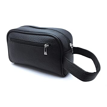 dbc9911939 MYB Pochette unisex nera con cinturino da polso in similpelle - 20x12x7 cm:  Amazon.it: Bellezza