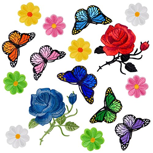 Coopay 16 Pieces Flowers Butterfly Iron on Patches Embroidery Applique Patches for Arts Crafts DIY Decor, Jeans, Jackets, Clothing, (Iron On Patches Appliques)