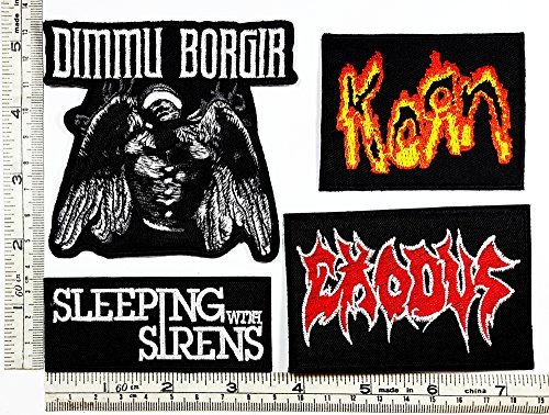 Siren Costume Diy (Set Rock music 129 Dimmu Borgir Korn Sleeplng with sirens EXODUS Heavy Metal Music Punk Band Logo Embroidered Iron on Hat Hoodie Backpack Ideal for Birthday Gift)