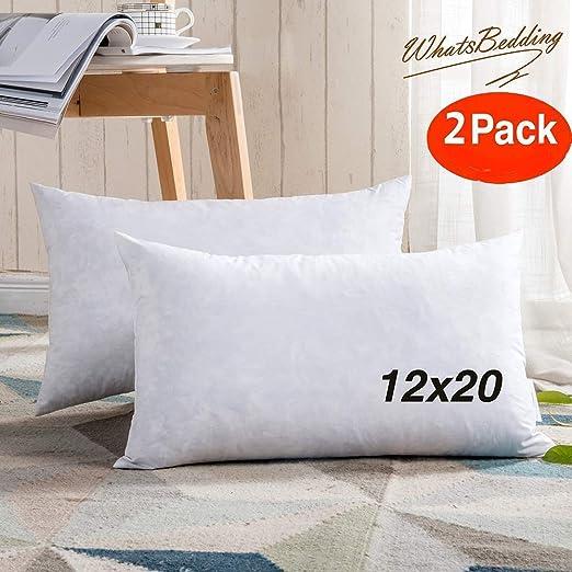 100/% Cotton Two Pillow Inserts 12X20 Square Decorative Throw Pillows Down /& Feather Throw Pillow Insert White