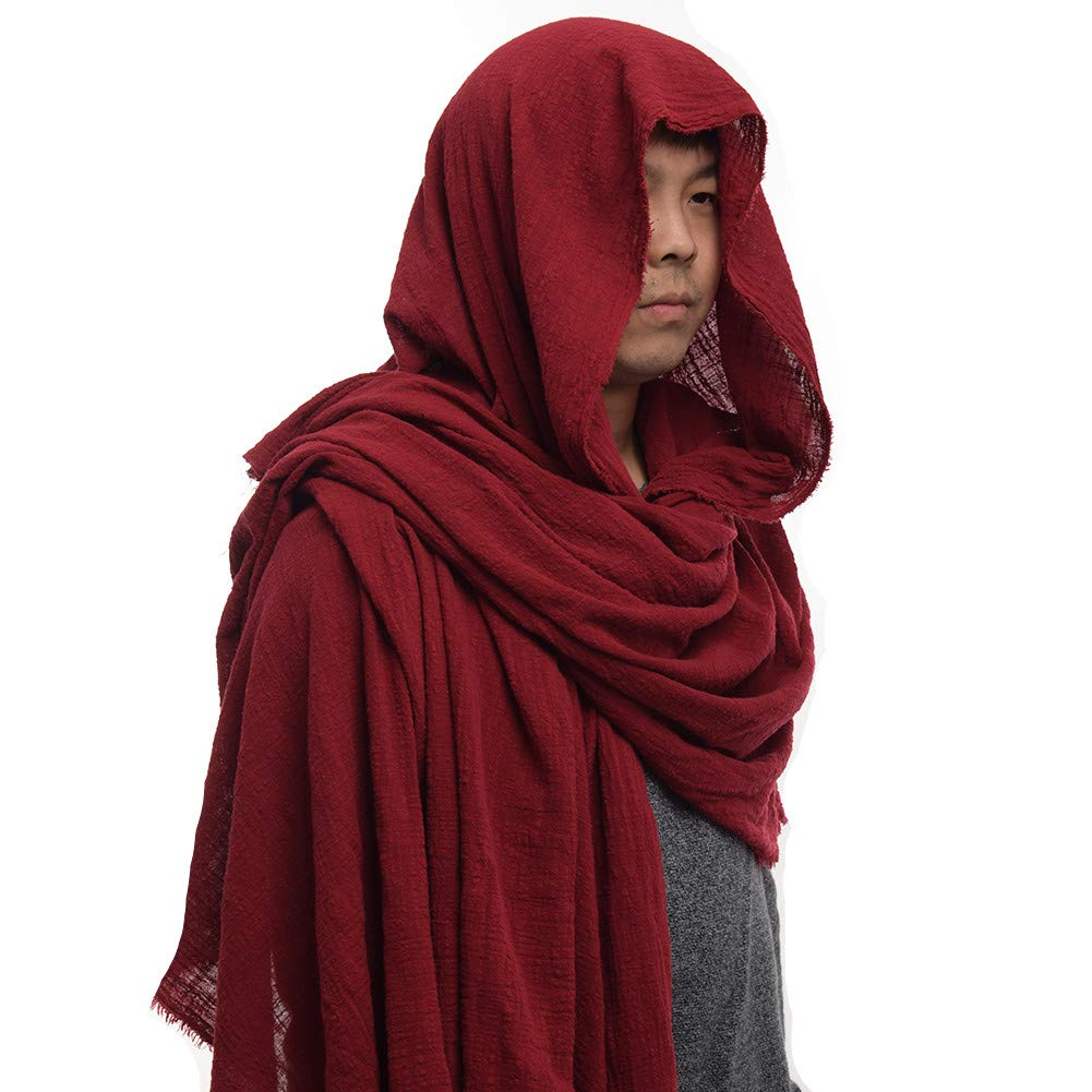 Medieval Peasant Cowl Chaperon Wine Red Costume Sash - DeluxeAdultCostumes.com/