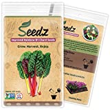 CERTIFIED ORGANIC SEEDS (Apr. 225) - Rainbow Swiss Chard Seeds - Heirloom Quality - Non GMO, Non Hybrid Seeds - USA