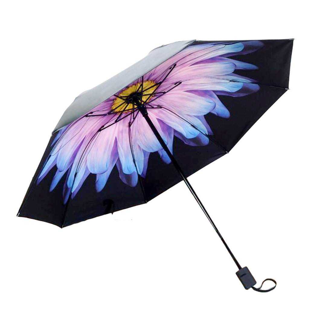 Xiaoyu 折りたたみ傘 3つ 紫外線保護 太陽と雨 コンパクト 防風 ブラック パラソル B072Q96FFG purple & pink