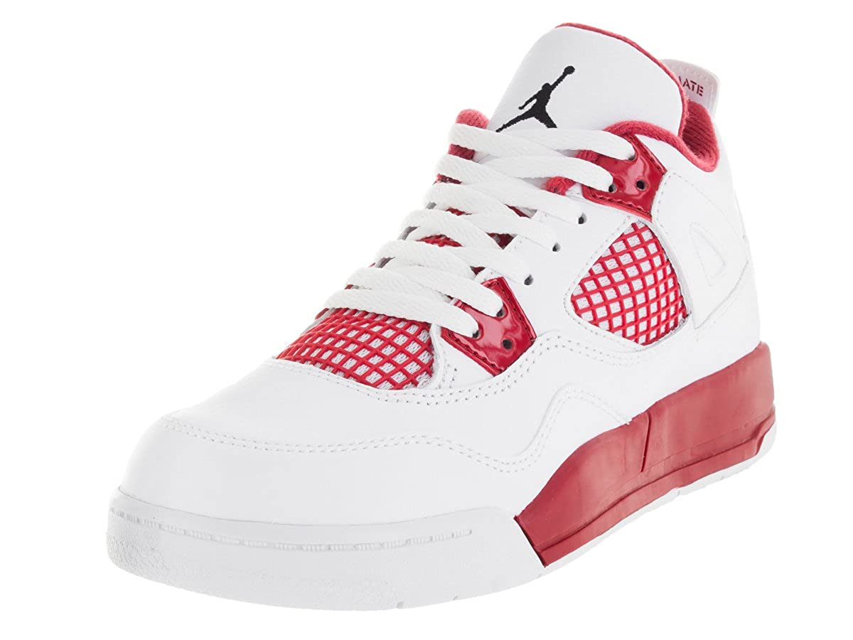 official photos a22b8 67e9b Amazon.com   NIKE  308499-106  AIR Jordan AJ 4 Retro BP (PS) PRE-School Shoes  White Black Gym RED   Basketball