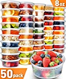 #6: 50pk 8oz Small Plastic Containers with Lids - Slime Containers with lids Freezer Containers Deli Containers with Lids - Food Containers Meal Prep Food Prep Containers Plastic Food Containers with Lids