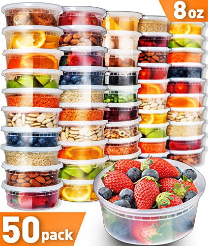 50pk 8oz Small Plastic Containers with Lids - Slime Containers with lids Freezer Containers Deli Containers with Lids - Food Containers Meal Prep Food Prep Containers Plastic Food Containers with Lids