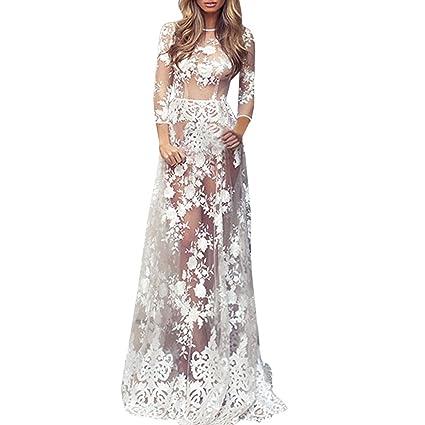 c96e996fdc3 Women's Lace Crochet Cover Up Bohemia Embroidery Smock Sexy 3/4 Sleeve Long  Dress Sundress