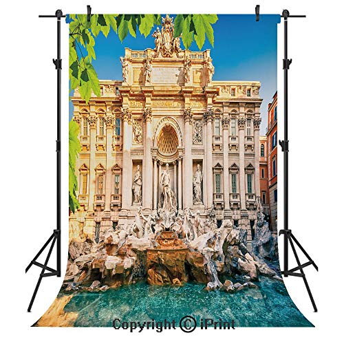 Italy Photography Backdrops,Fountain Di Trevi Famous Travel Destination Tourist Attraction European Landmark,Birthday Party Seamless Photo Studio Booth Background Banner 6x9ft,Multicolor