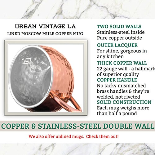 Gift Wrapped Set of 4 Moscow Mule Copper Mugs with Stainless-Steel Lining | Large Gift Box Includes 4 Double Wall Copper Mugs, Shot Glass & Cocktail Recipe Book | Premium, Hammered, Heavy-Duty Cups by Urban Vintage LA (Image #4)