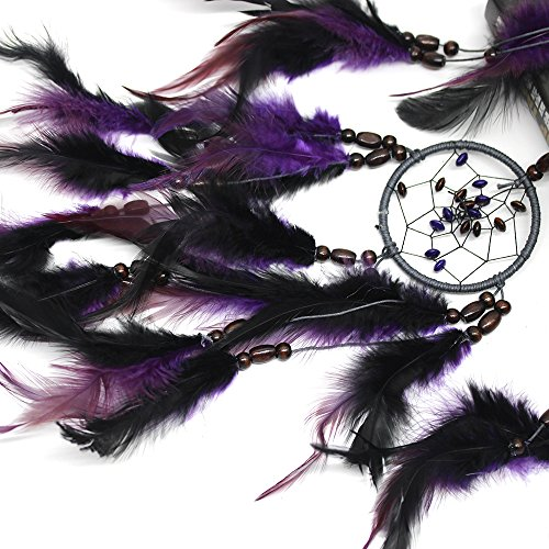 MIRUIKE Purple Traditional Dream Catcher with Natural Feathers Wall Hanging Gift Ornaments for Bedroom,Party,Car