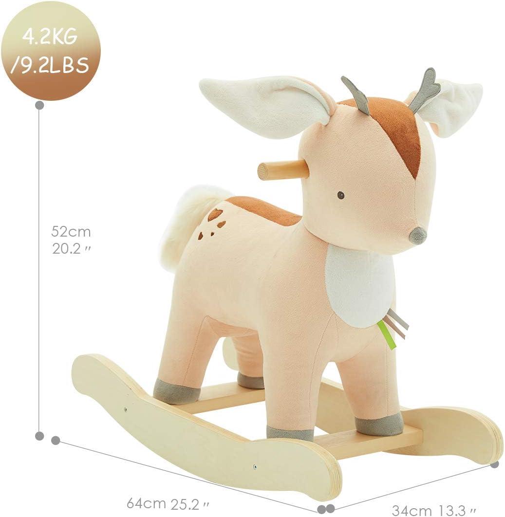 NEW Soft Plush WHITE ROCKING HORSE  with Sounds Saddle Bandana /& Rosette Age 1+