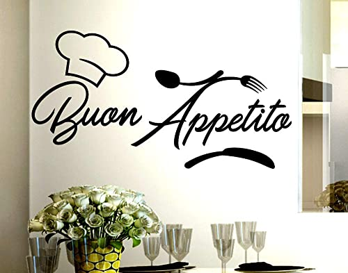 Adesivi Murali frasi Cucina buon appetito cappello cuoco ...