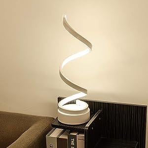 Spiral LED Desk Lamp, Curved Table Lamp, Modern Minimalist Lighting Design, 24W Multiple Color Temperature LED Table Lamp, Modern Lamp for Living Room and Bedroom, White